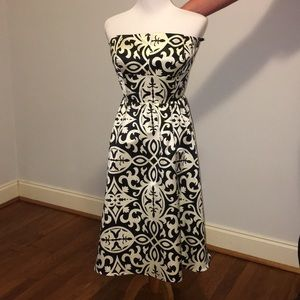 Strapless black and cream dress